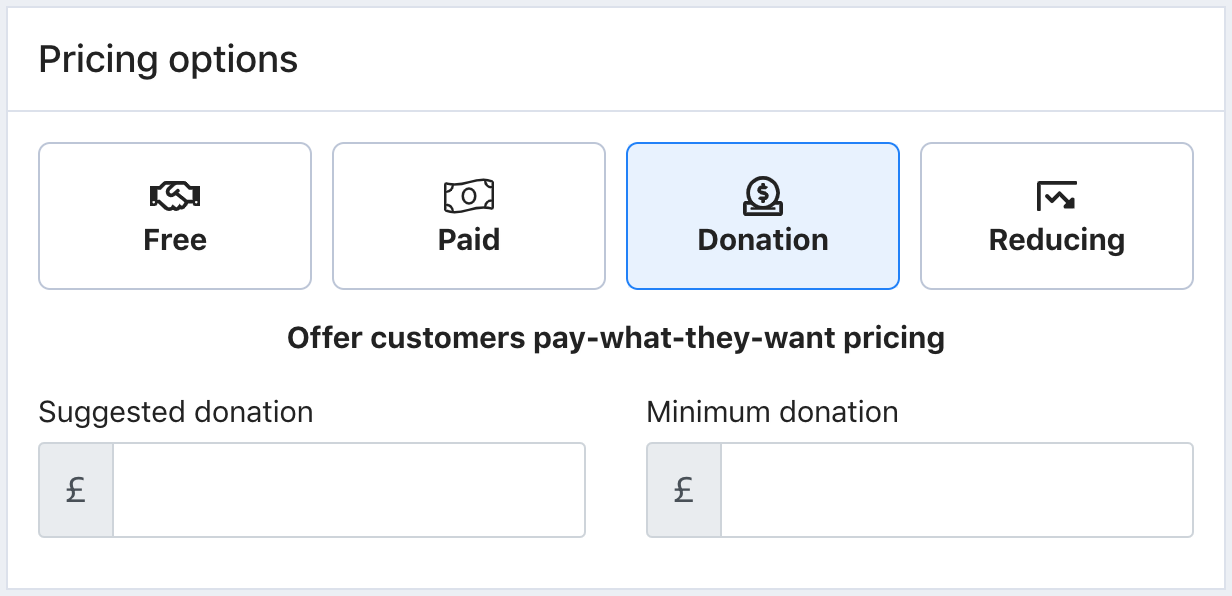 The Pricing options screen in Tito. The Donation option is selected.