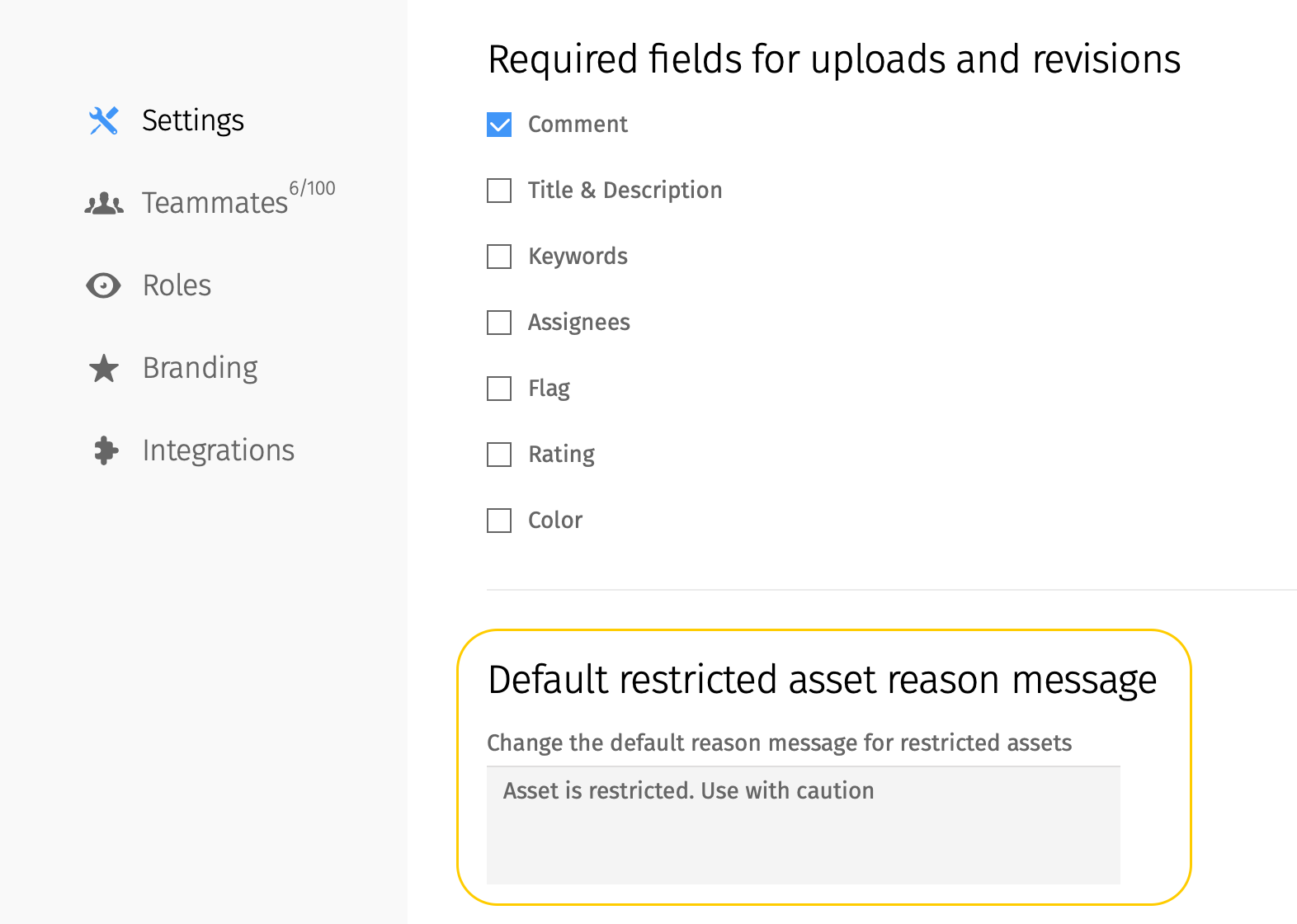 Default restricted asset reason message