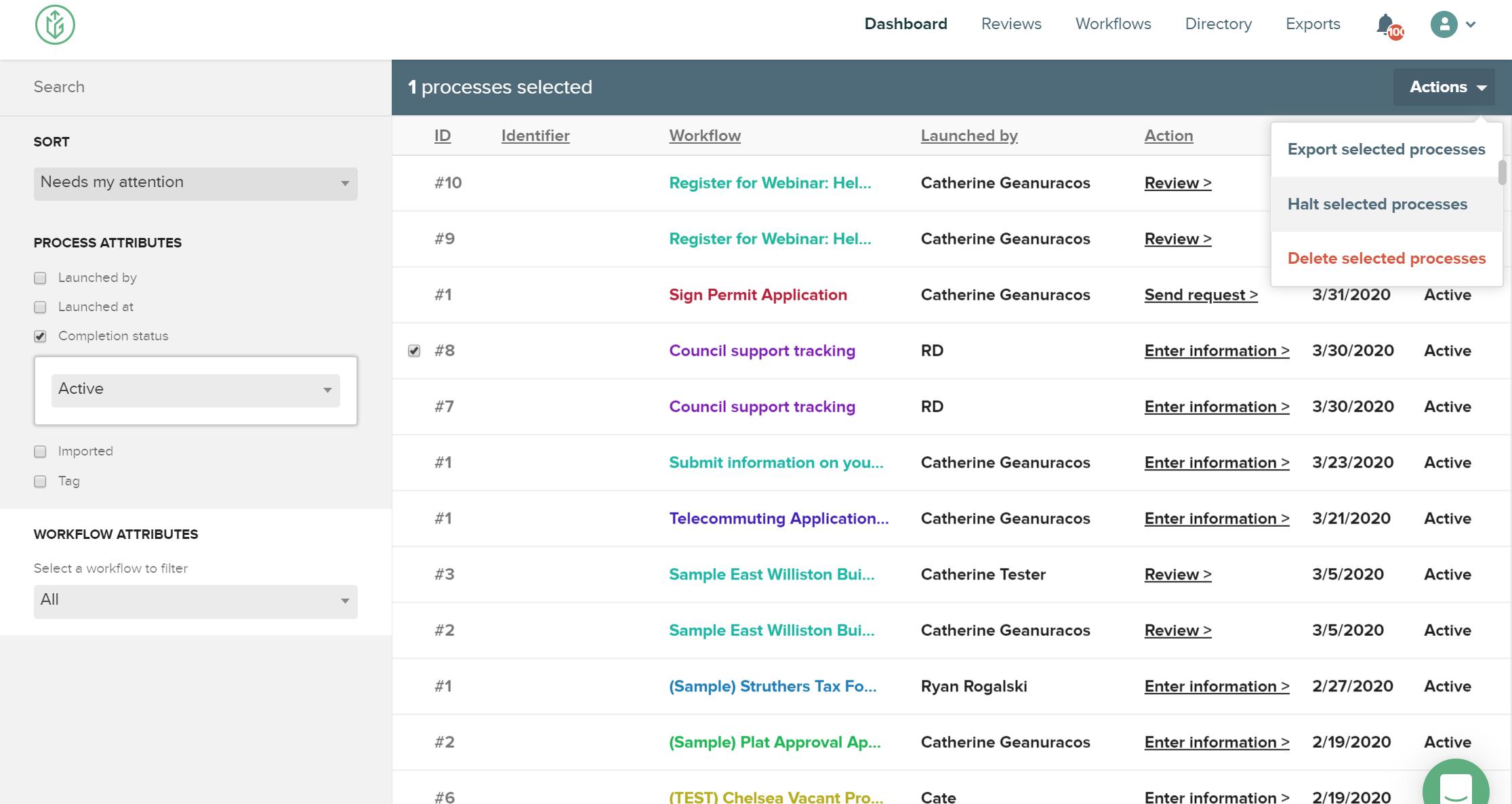 CityGrows actions drop down on admin dashboard