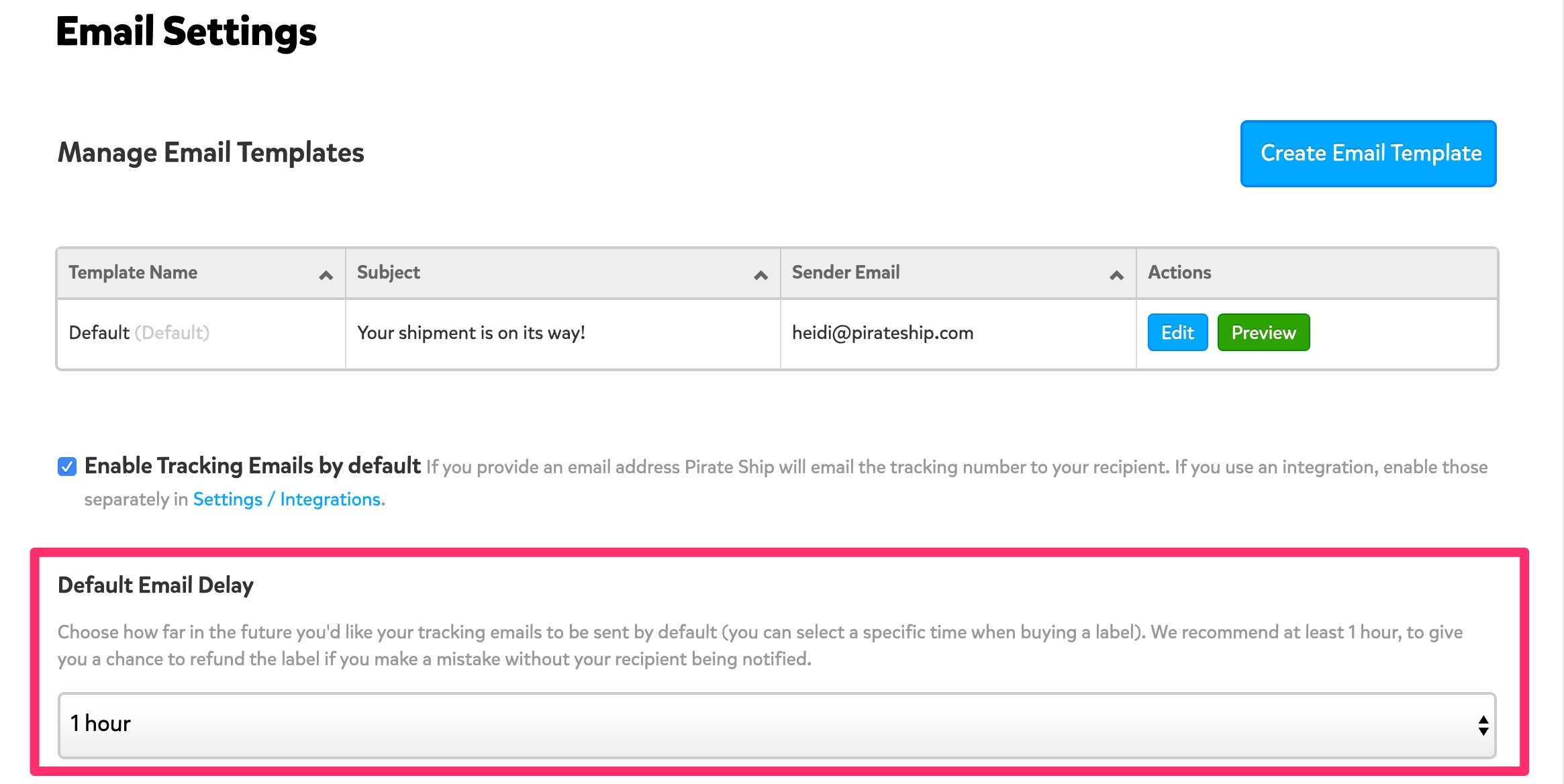 A screenshot showing the Tracking Email Settings page. Towards the bottom, a section with the header 'Default Email Delay' is highlighted, and 1 hour is selected in the drop down menu below.