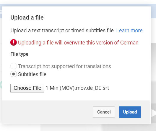 Click Choose File and navigate to your translated subtitle file from Simon Says