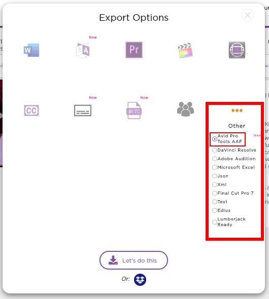 Select Avid Pro Tools AAF