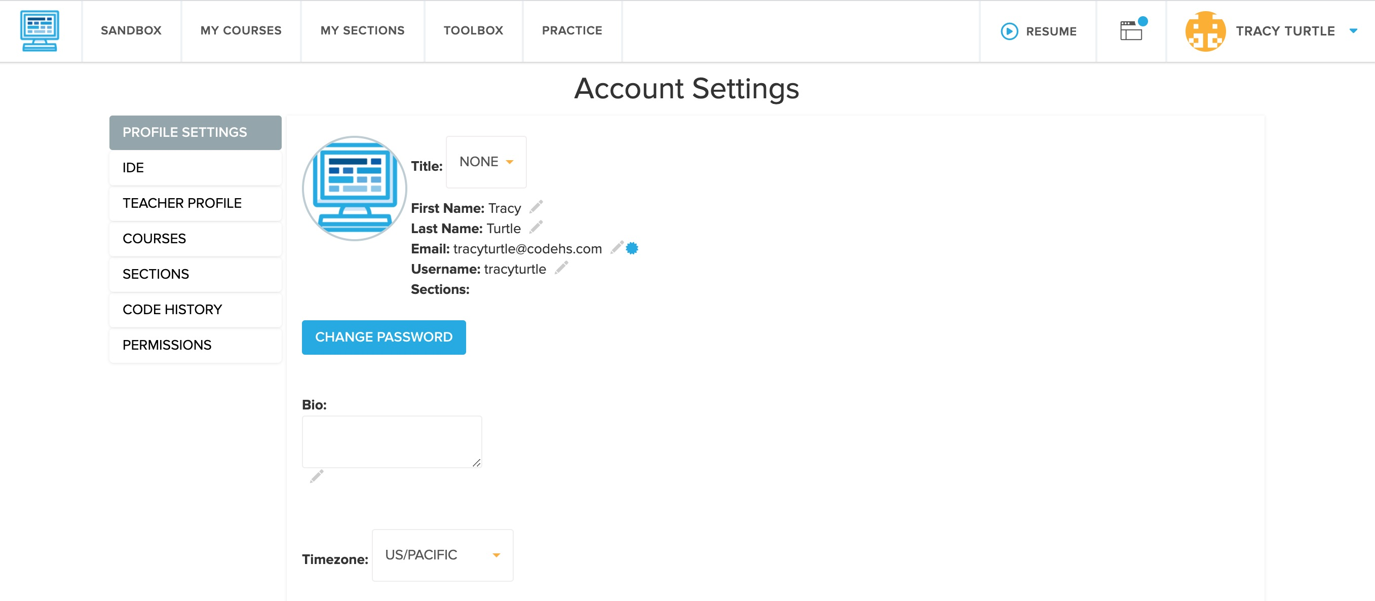 screenshot of Account Settings page highlighting the Change Password button