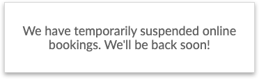 The closure message on the Booking Page