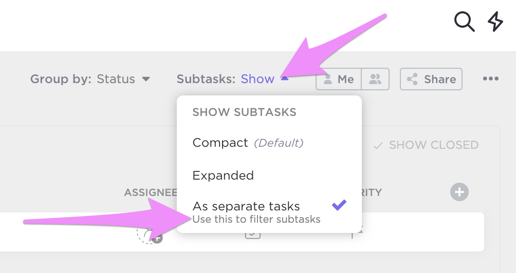 Showing how you can expand your subtasks.