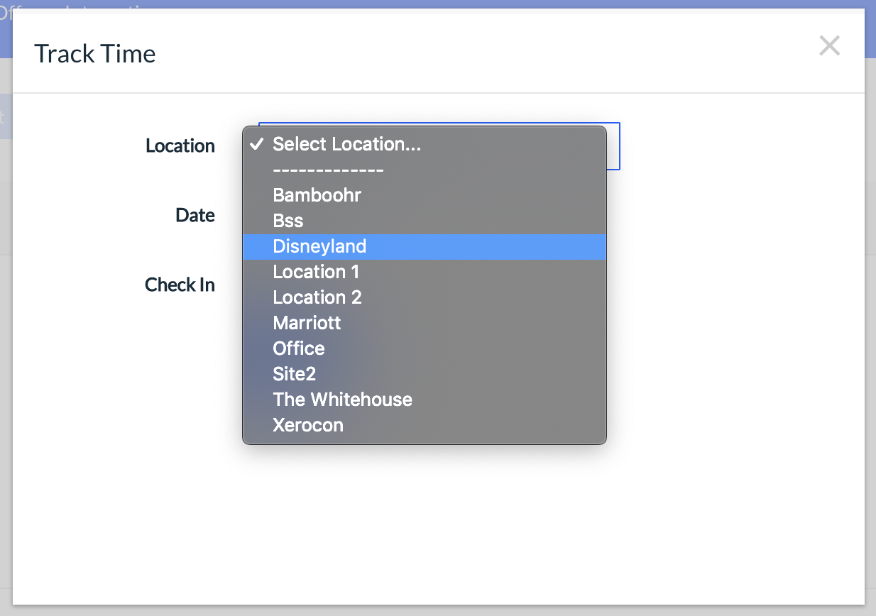 Track Time popup showing a list of locations in a drop-down menu