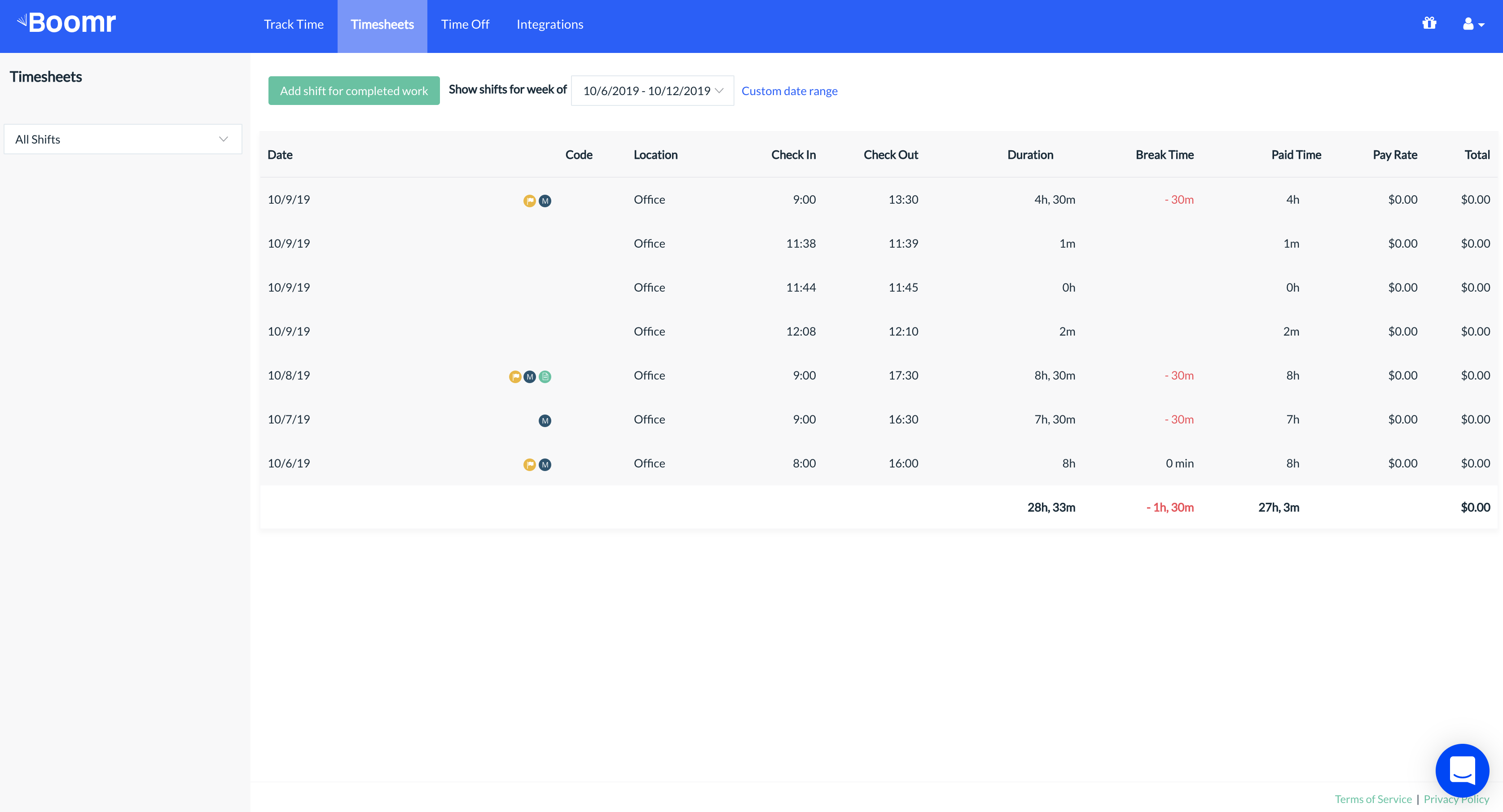 Screenshot showing the Web Dashboard where employees can access a report of all of the shifts that they have worked