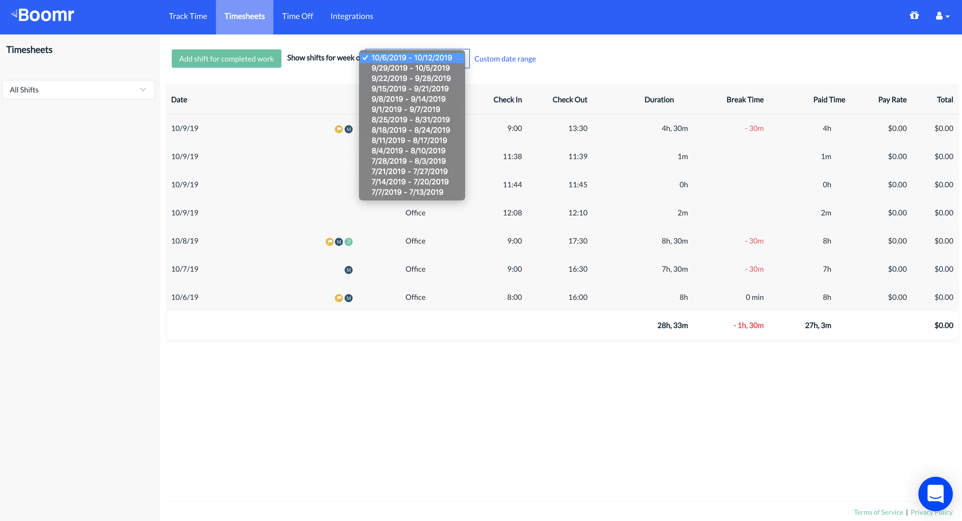 Screenshot showing how to toggle between different weeks in the Web Dashboard