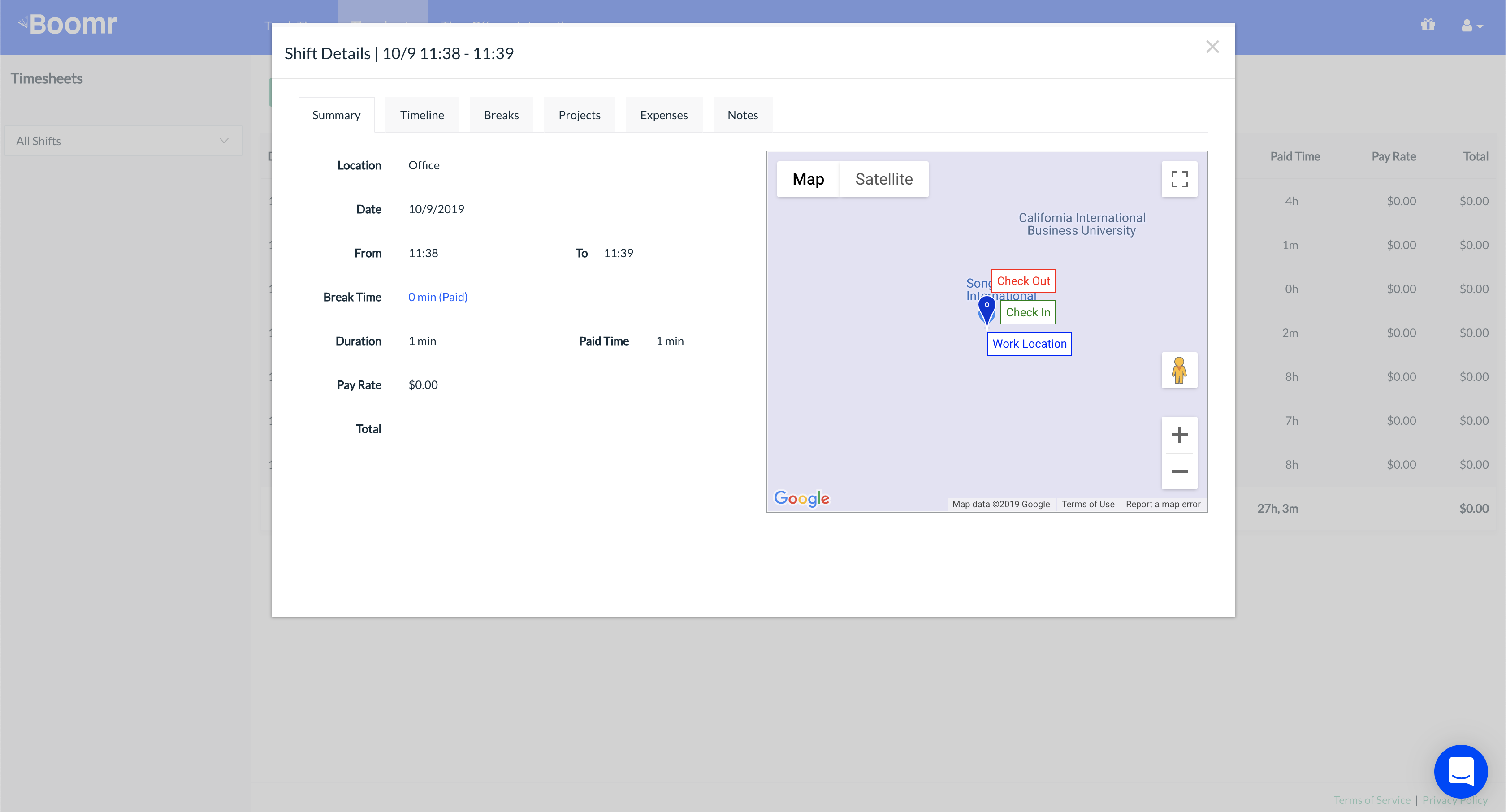 Screenshot showing how to view more information about a shift within Shift Details