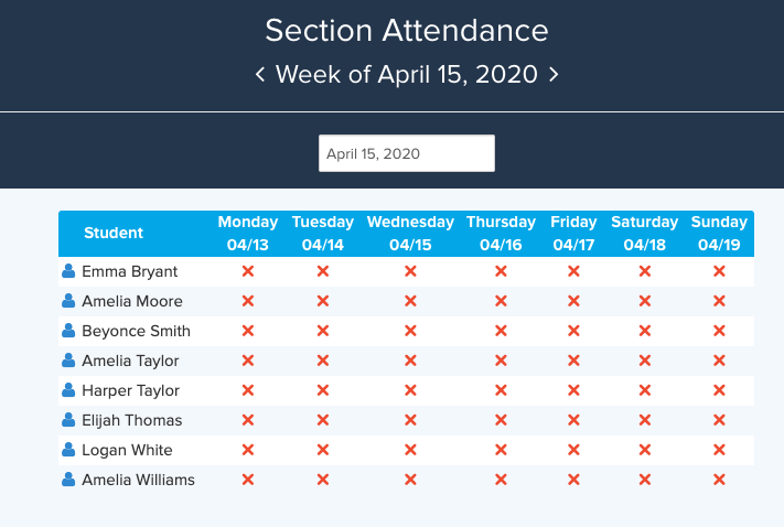Weekly Section attendance showing present/absence status for each student over 7 days