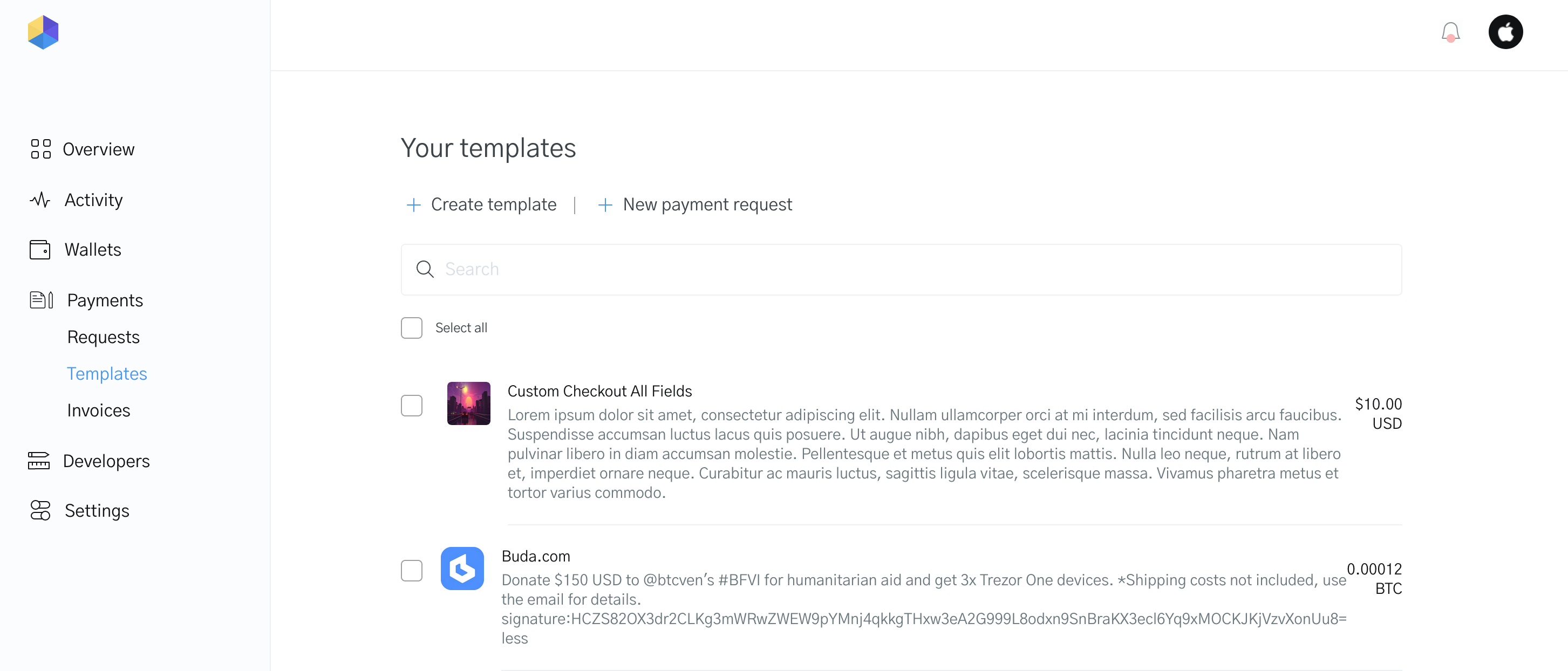 Image of your payment templates on the OpenNode dashboard