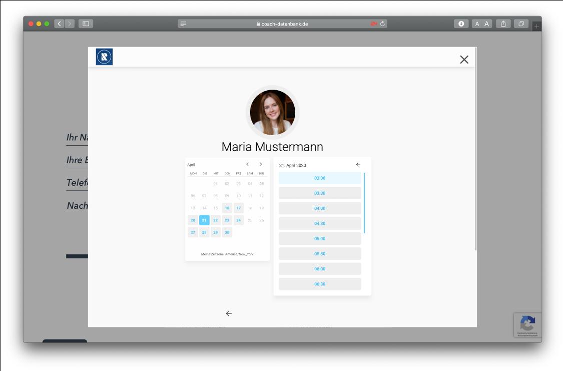 MeetFox Terminvereinbarung auf der RAUEN Coach-Datenbank