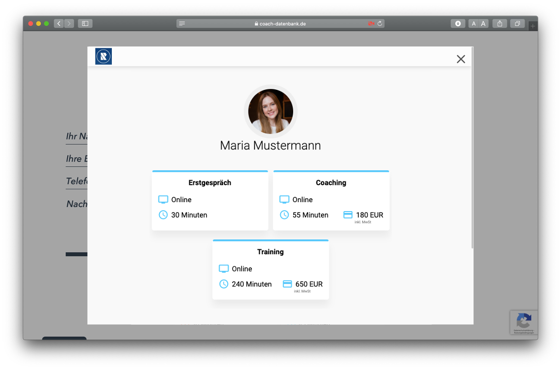 MeetFox booking on RAUEN Coach-Database