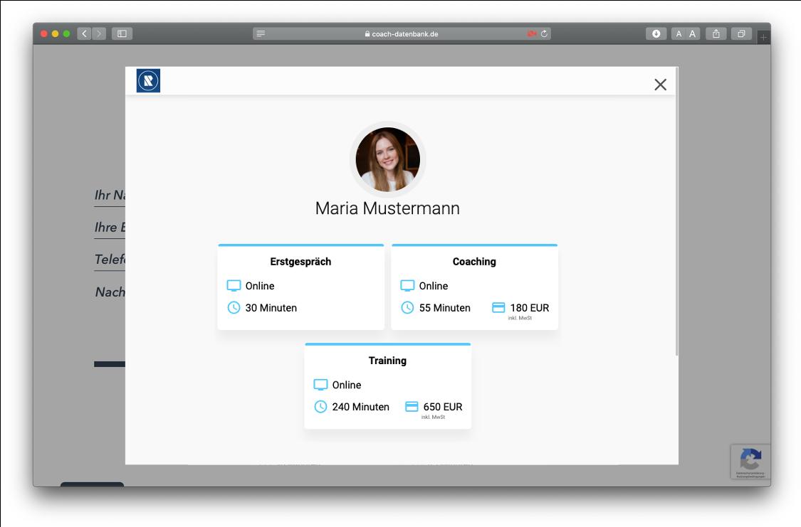 MeetFox Terminvereinbarung auf RAUEN Coach-Datenbank