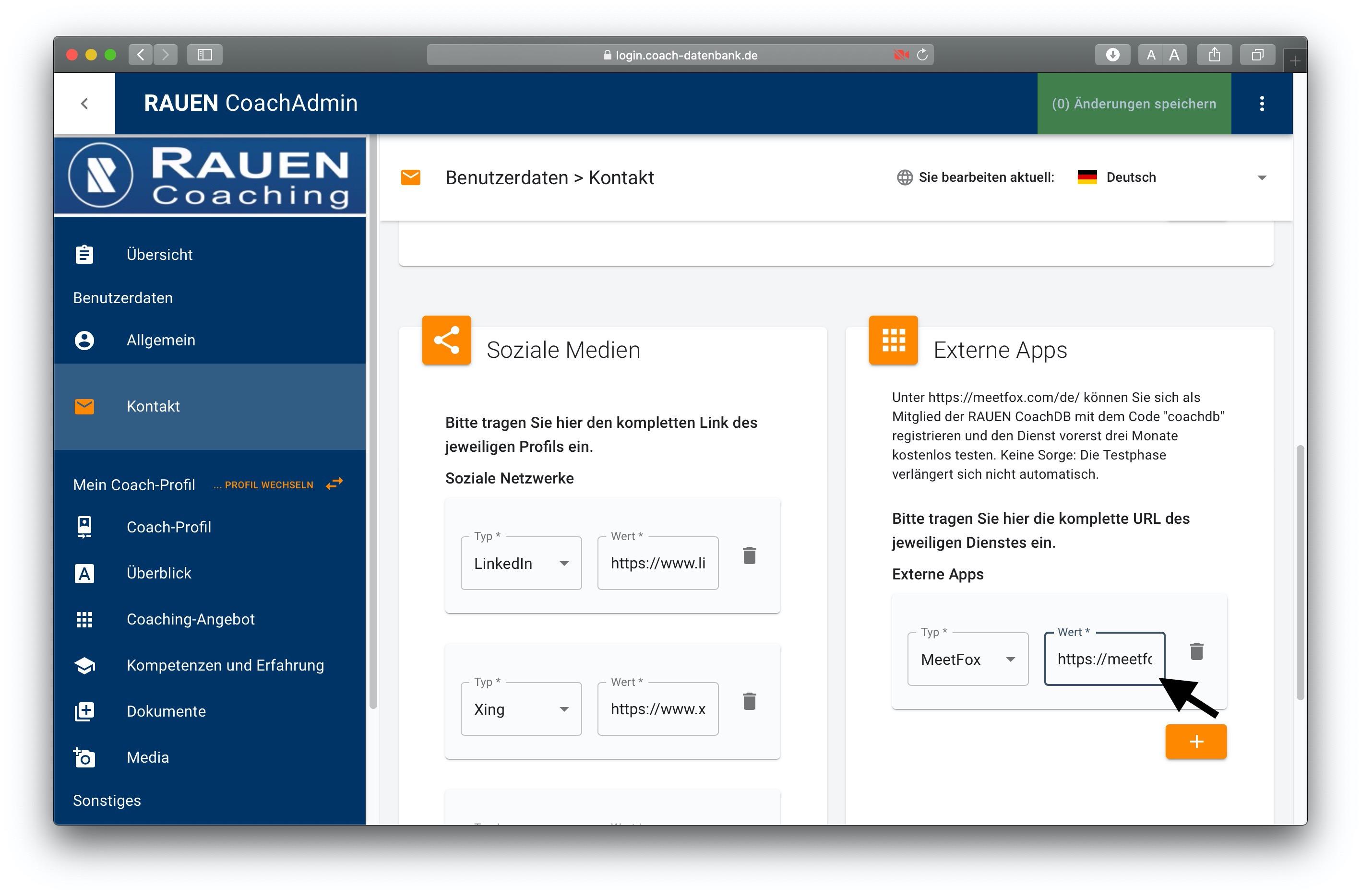 MeetFox integration on RAUEN Coach Database