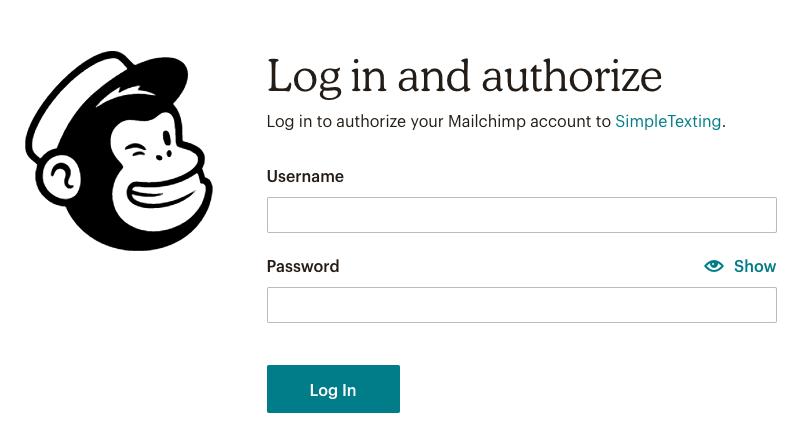 Mailchimp authorize