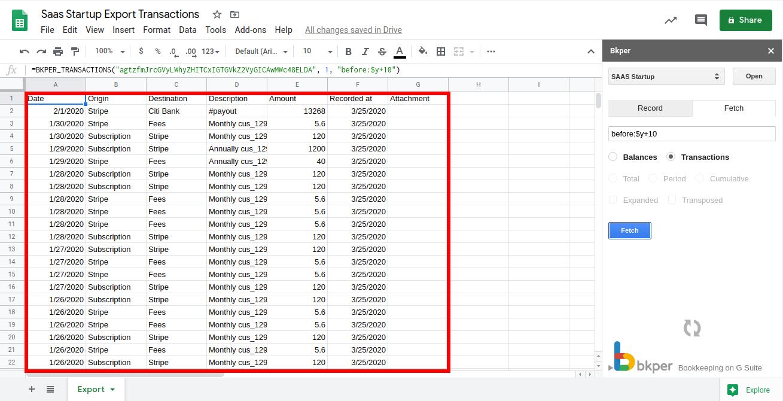 Bkper add-on for Google Sheets