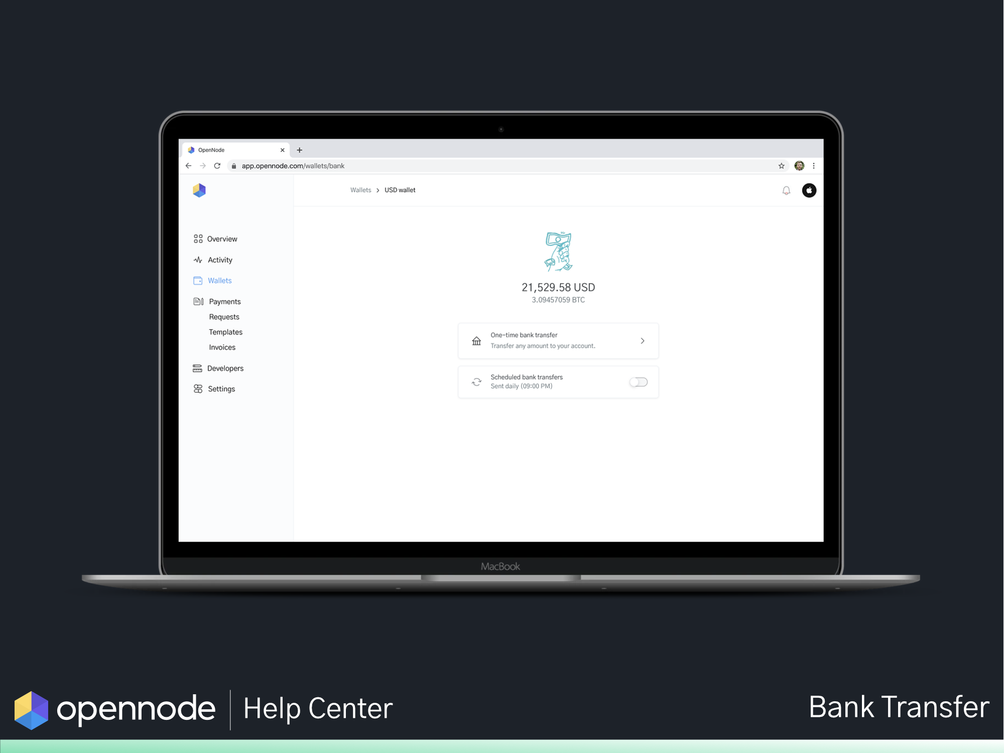 Image of a laptop displaying Bank transfers with OpenNode