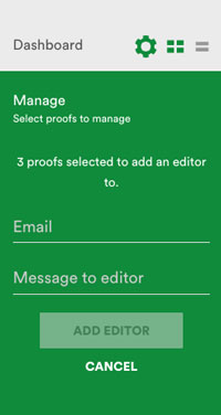 Manage menu showing adding an editor to multiple proofs at once