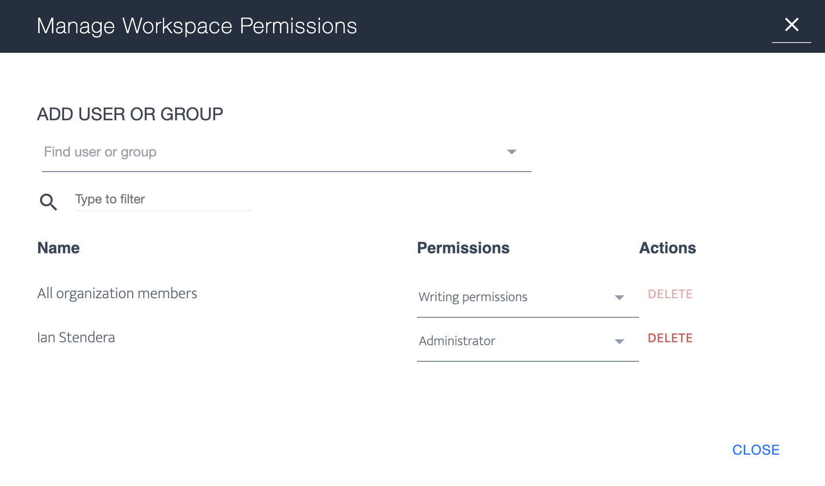 Ardoq manage worspace permissions