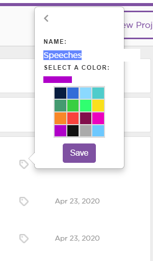 Type in a name and select a color