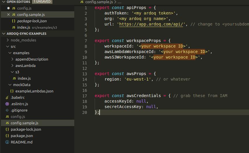 Ardoq was lambda config.js file