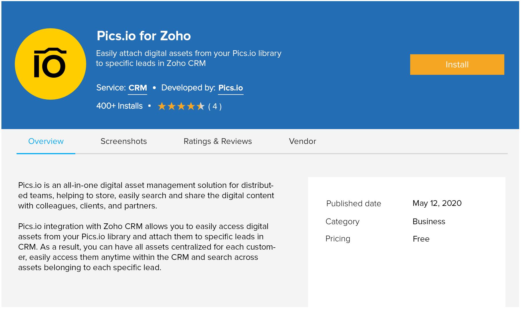 Pics.io plugin for Zoho