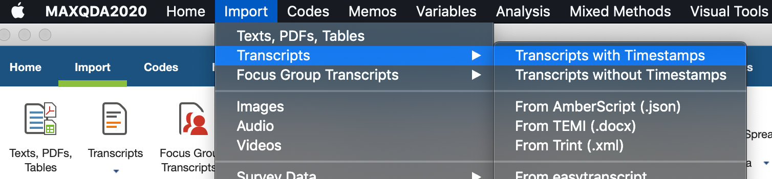 In MAXQDA, select Import -> Transcripts -> Transcripts with Timestamps