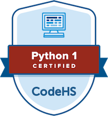 badge labeled CodeHS python 1 certified