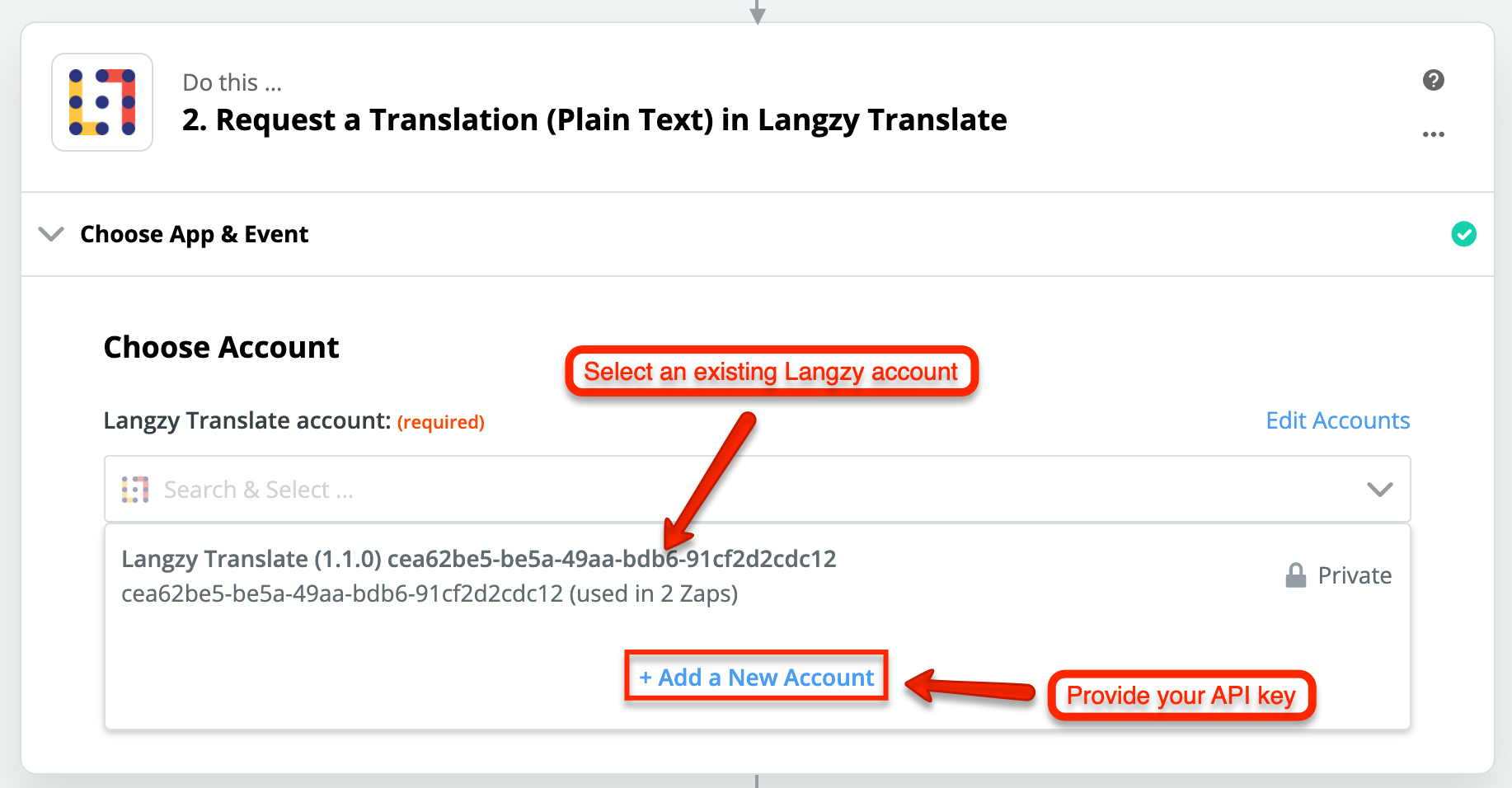 """Select a Langzy account, or create a new one by clicking on the """"Add a New Account"""" link."""