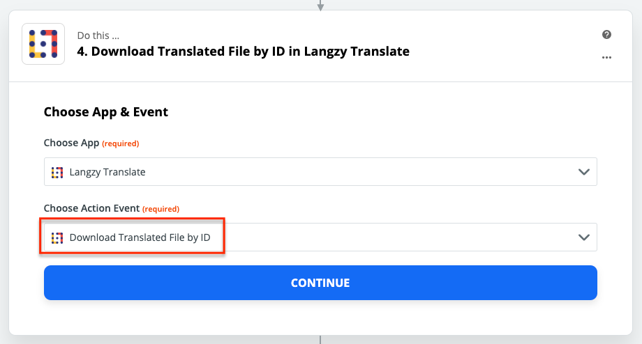 For downloading the translated file, select the