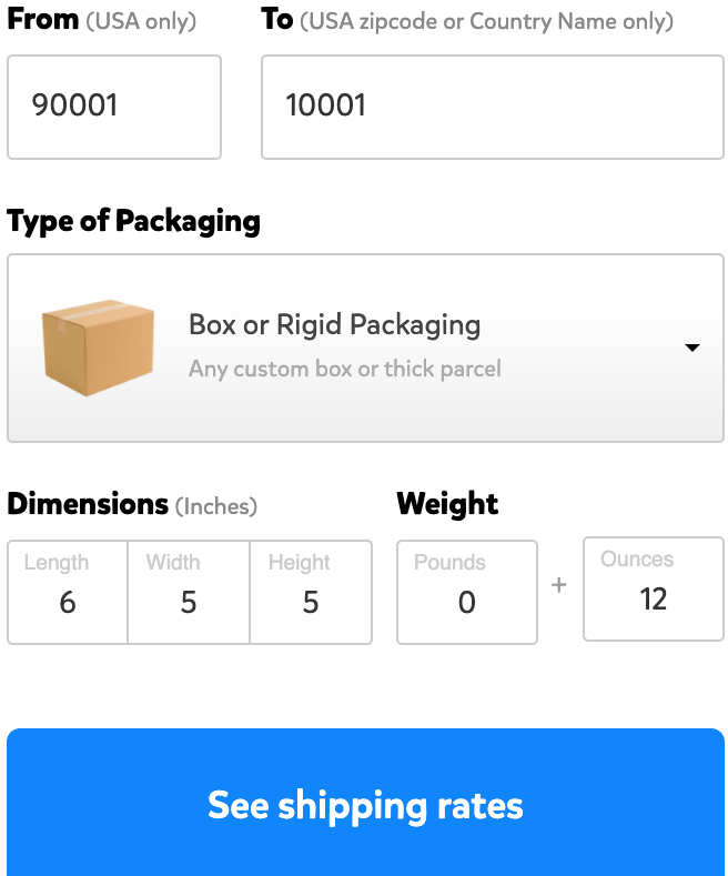 Screenshot of Pirate Ship's Rates Calculator, showing a 6 by 5 by 5 inch box weighing 12 ounces getting sent from the zipcode 90001 to the zipcode 10001.