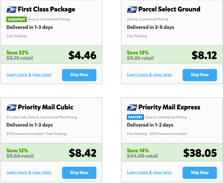 A screenshot of the rates for the shipment referenced in the previous screenshot. This package can be shipped as a Zone 8 shipment via First Class Package for $4.46, via Parcel Select Ground for $8.12, via Priority Mail Cubic for $8.42, and via Priority Mail Express for $38.05.
