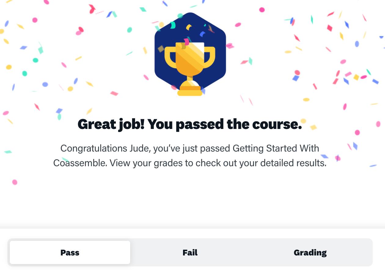 Online training platform certificates