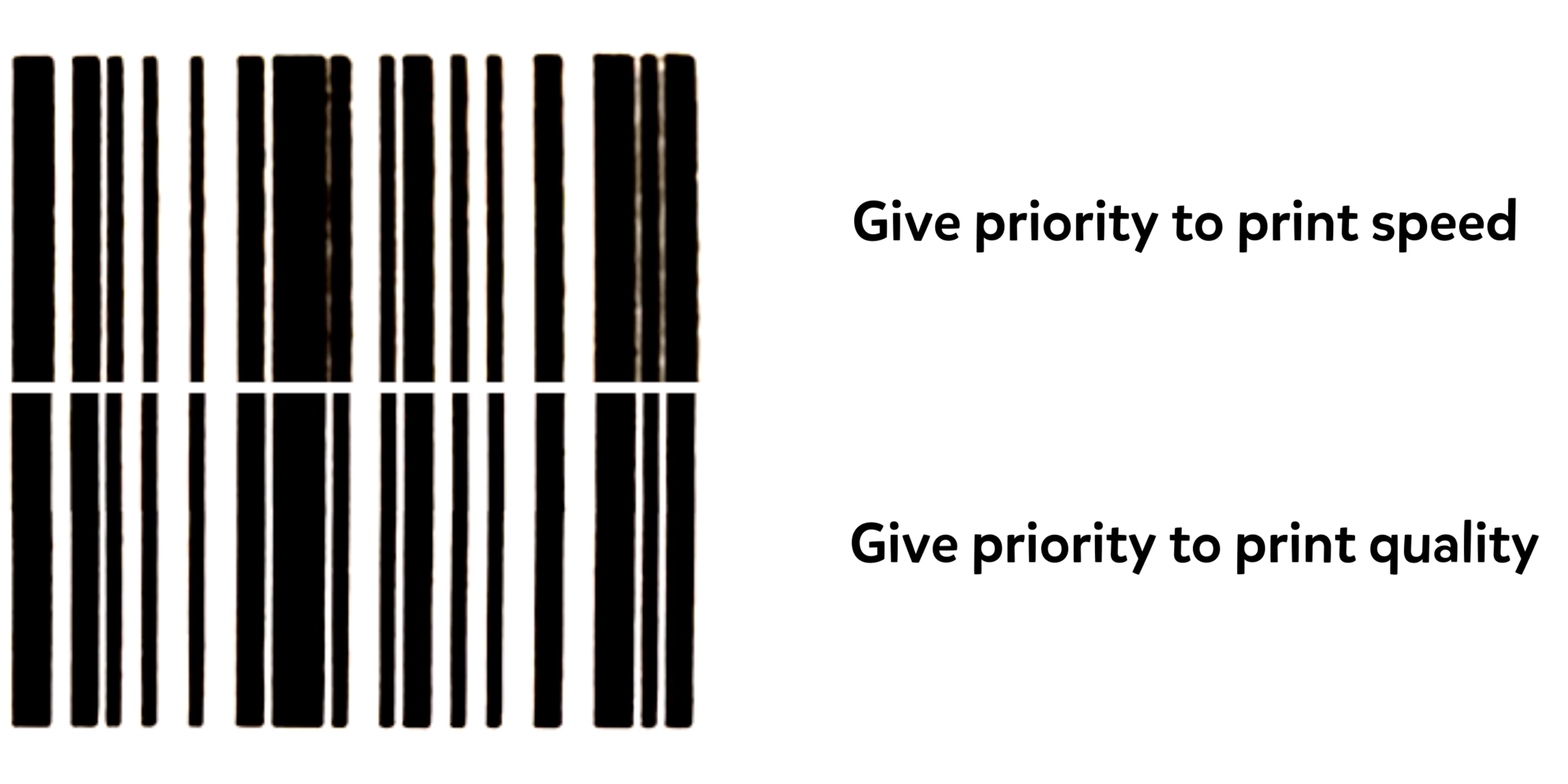 Two barcodes are shown to demonstrate the differences between giving priority to print speed, and giving priority to print quality. When print speed is prioritize, the barcode appears a little fuzzy and less clear. When print quality is prioritized, the barcode appears crisp.