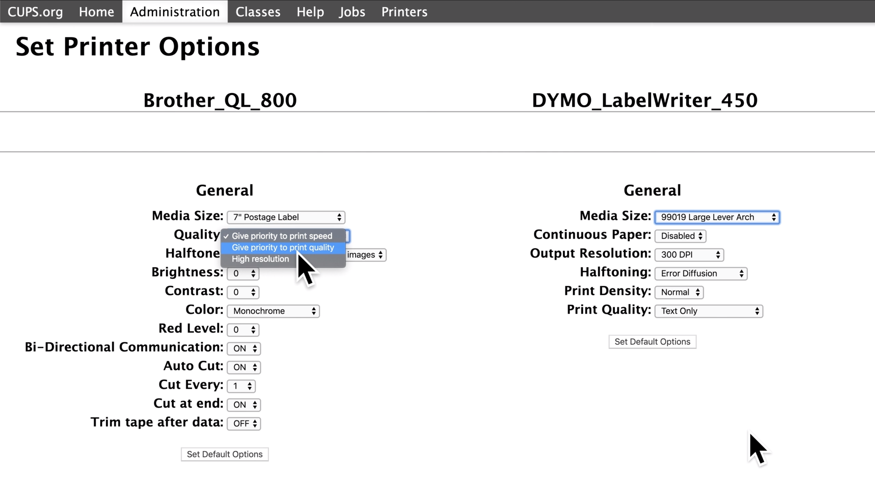 A screenshot of the CUPS preferences, in the 'Set Printer Options' section. Both the Brother QL 800 and the DYMO Label Writer 450 are shown with their options below. Under the Brother printer next to where it says 'Quality,' a drop down menu is open with the option 'Give priority to print quality' selected.