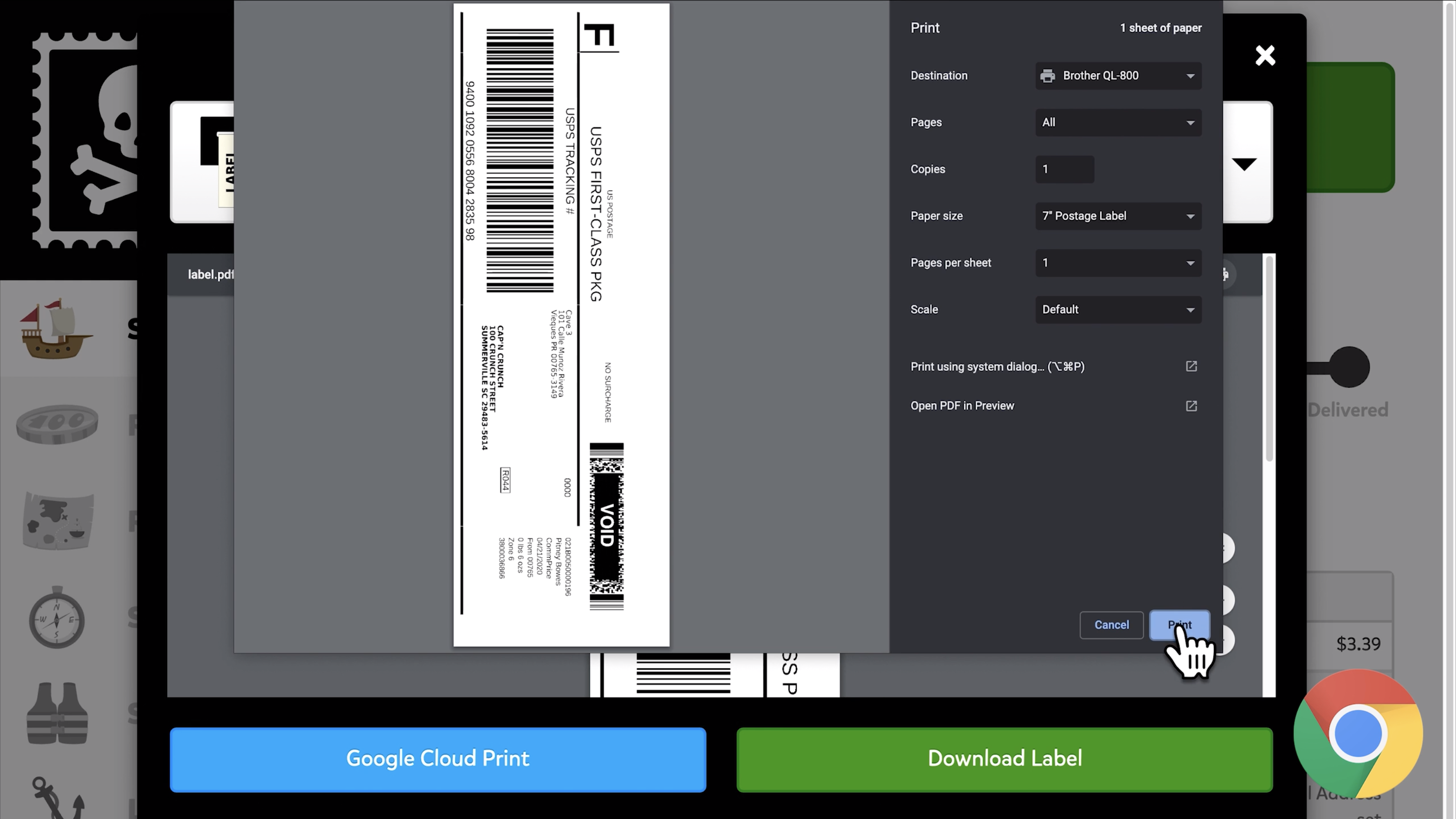 A screenshot of a 2 by 7 inch label being printed out of Chrome's print dialog window. The Brother QL 800 is selected as the destination, the paper size is set to '7 inch postage label,' and scale is set to default.