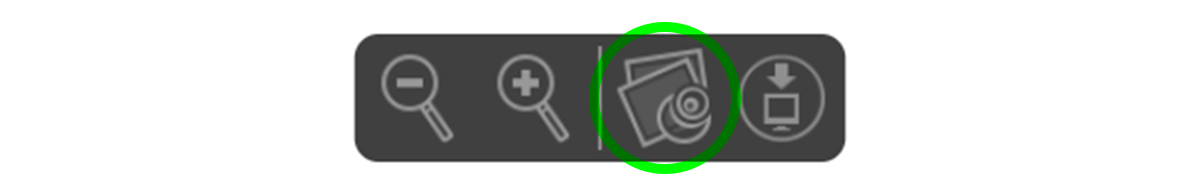 A screenshot of the icons that appear in Safari when you are viewing a PDF and you hover the cursor near the bottom of the preview box. The third icon to the right has a green circle around it, indicating if you click on this icon, the PDF file will open in Apple's 'Preview.'