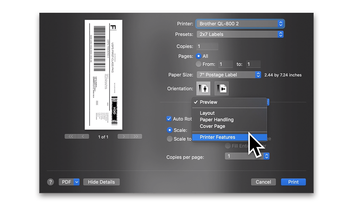 A screenshot of the system print dialog window showing the drop down menu where 'Preview' is located. 'Printer Features' is highlighted in this drop down menu.
