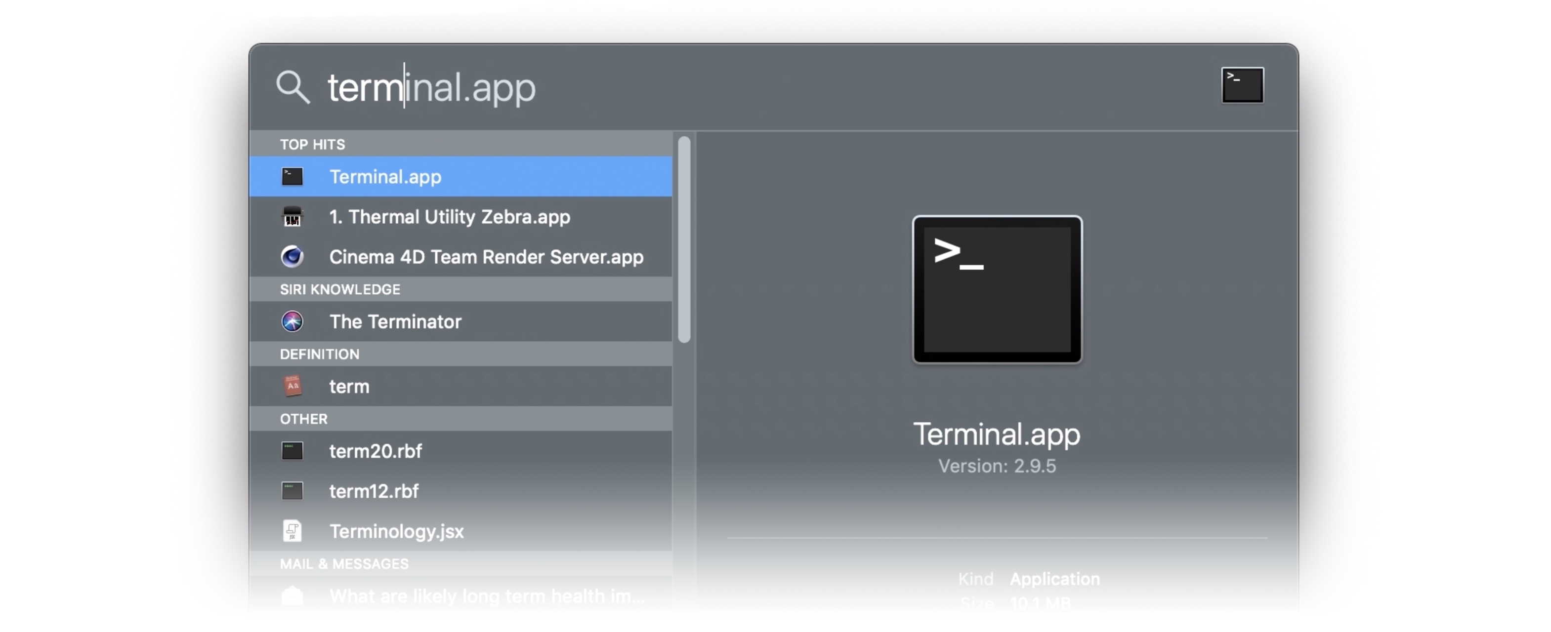 A screenshot of the Spotlight Search on the Mac, with 'terminal.app' typed into the search bar. The top hit, 'Terminal.app' is highlighted below the search bar.