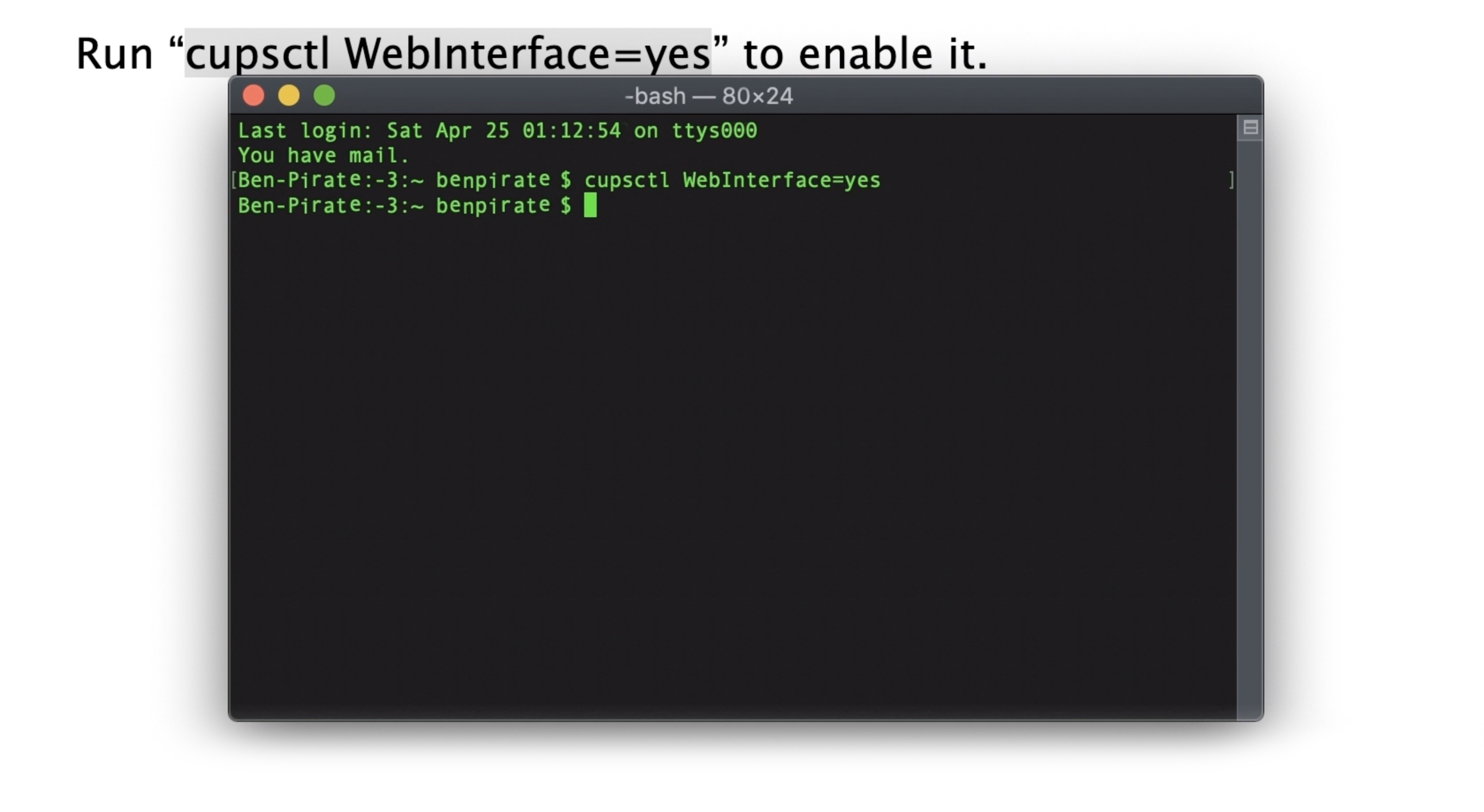A screenshot of the Terminal app on the Mac, showing 'cupsctl WebInterface=yes' entered.