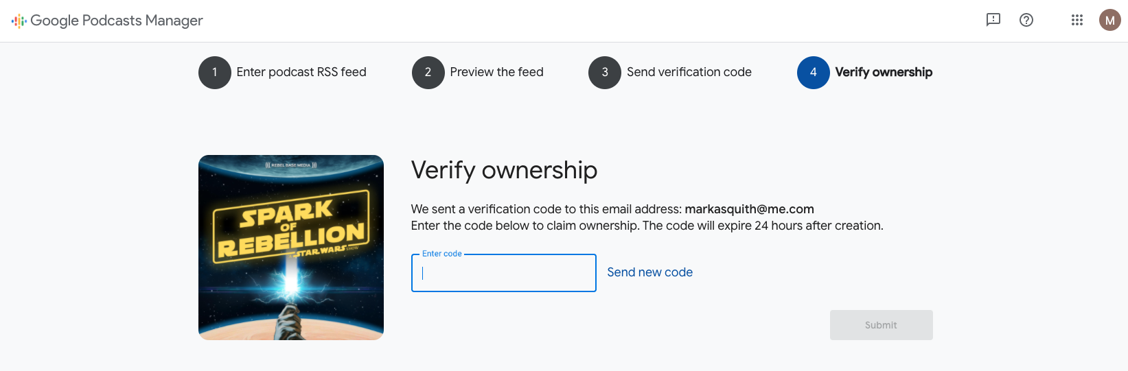 A screenshot of the 'verify ownership' step of submitting a podcast in Google Podcasts Manager. The screenshot shows someone pasting a verification code into a box to claim ownership of the podcast.