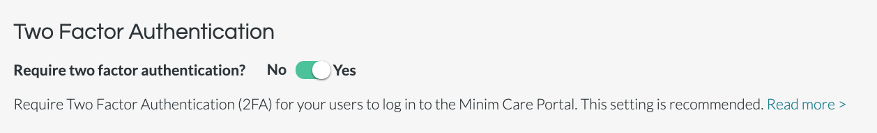 Enable 2 Factor Authentication in Minim