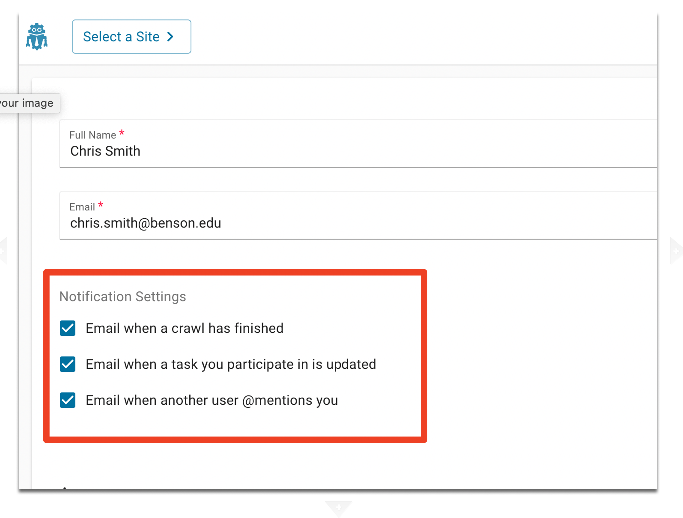 Notifications Settings are after the Email input option.