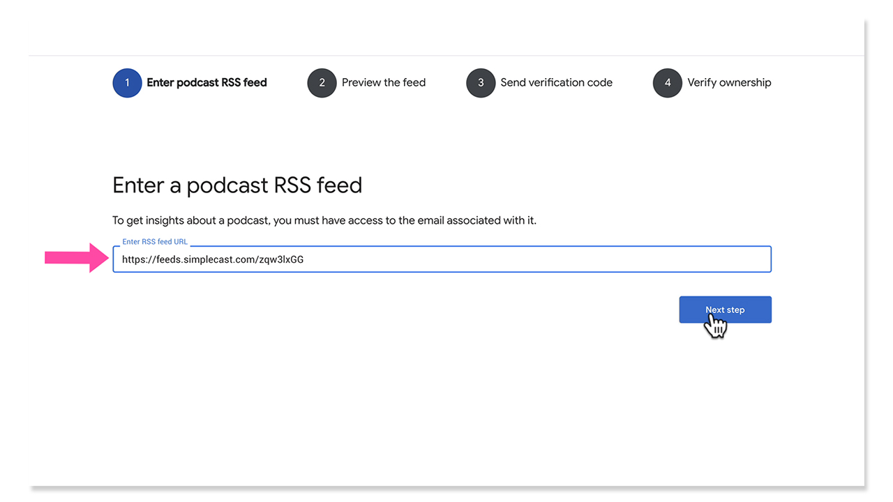 Enter Podcast RSS Feed