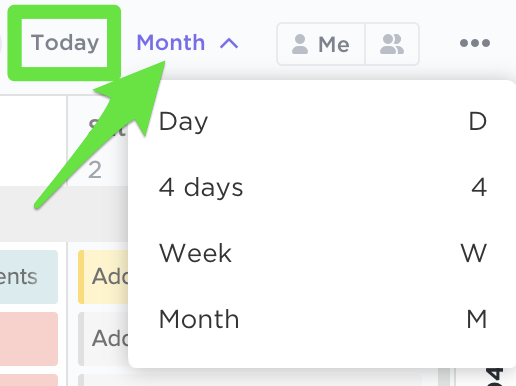 Changing the scope of your Calendar View