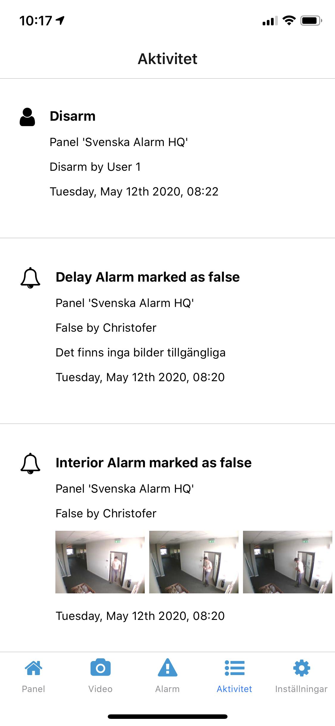 aktivitetslogg app svenska alarm