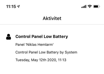 lågt batteri driftlarm
