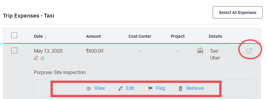 View, Edit, Flag, Remove or open the expense in a new tab from Reports