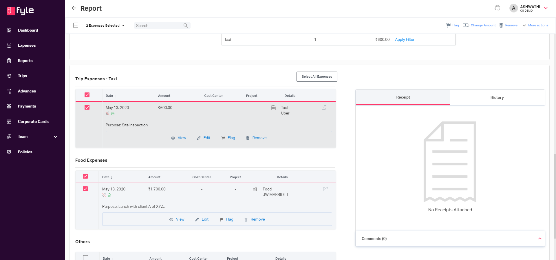 Select multiple expenses to take bulk actions